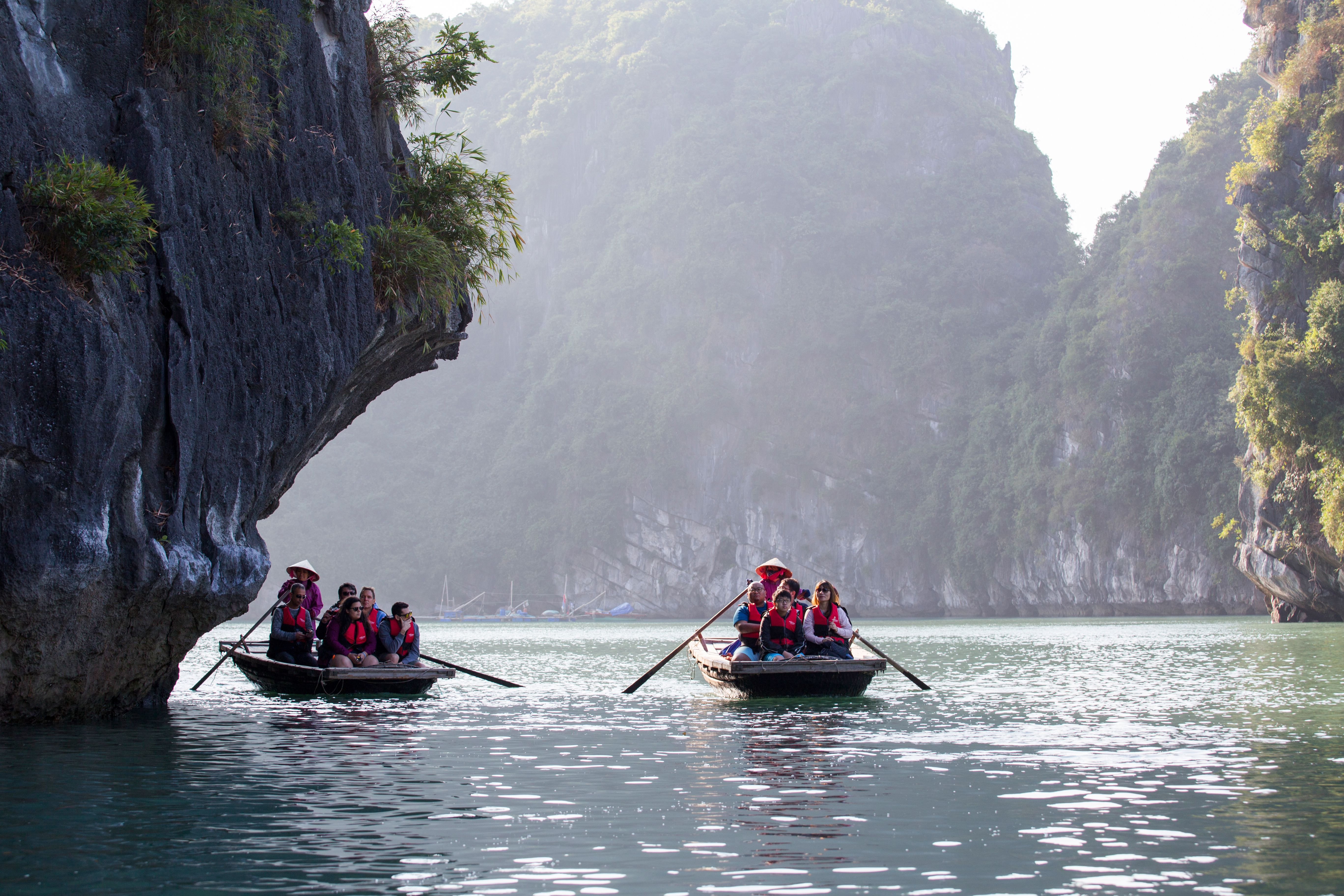 Bamboo boat on Halong Bay